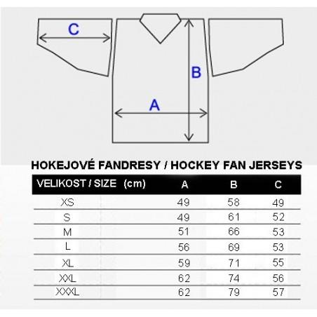 Tabulka velikostí, hokejové dresy