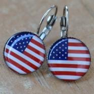 Náušnice USA s vlajkou