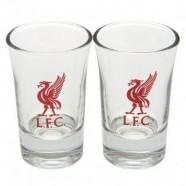 Dva panáky Liverpool FC s logem klubu
