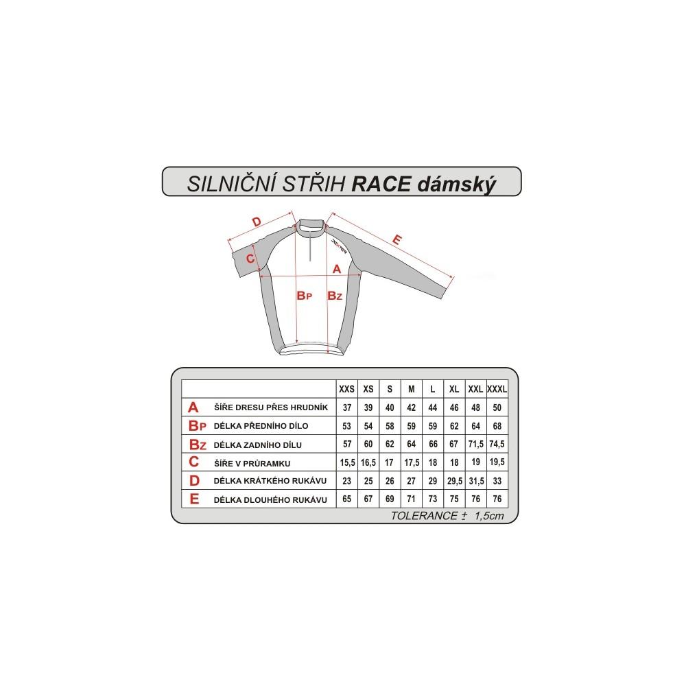 Cyklistický dres dámsky - tabuľka veľkostí