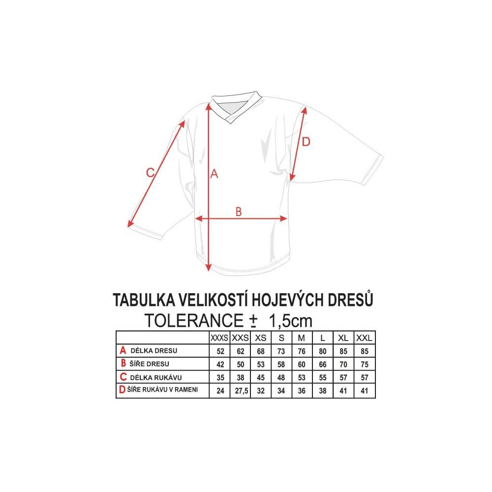 Hokejový dres Camp AT - tabuľka veľkostí