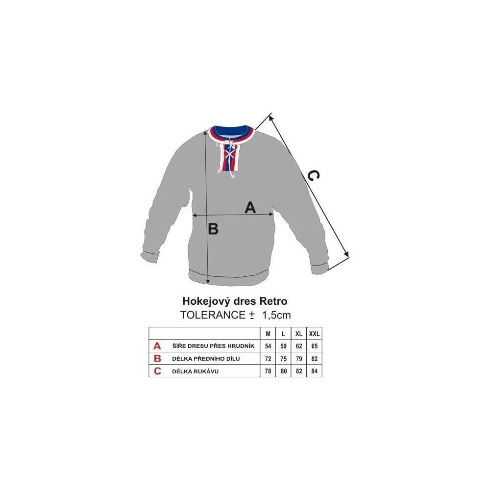 Dobový dres ČSSR  bílý - tabulka velikostí