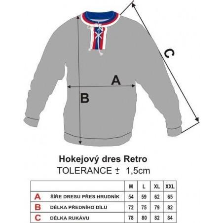 Dobový dres TJ Gottwaldov modrý - tabulka velikostí