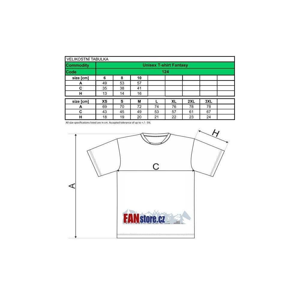 Tabuľka veľkostí tričká