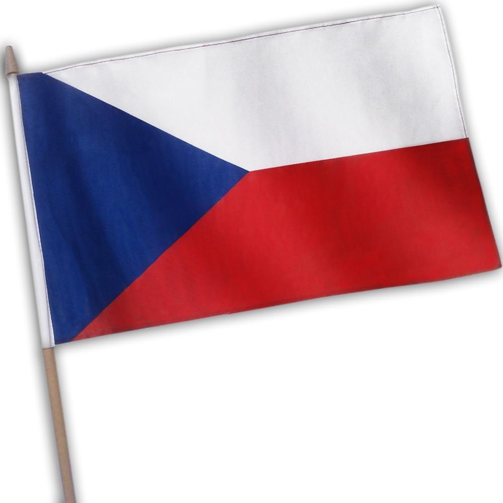 Vlajka Česká republika s žerdí - mávací, 45 x 30 cm