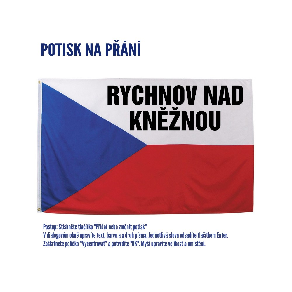 Vlajka s potlačou - príklad