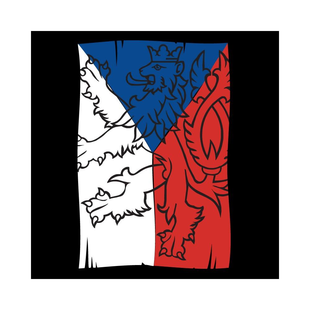 Tričko čierne s vlajkou, detail motívu