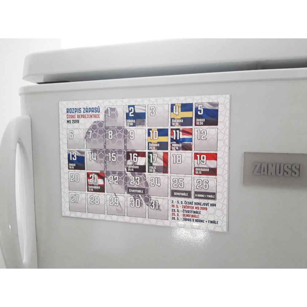 Magnetický rozpis zápasov - MS 2019 na chladničke