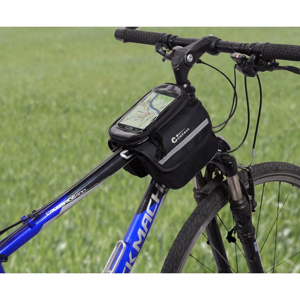 Brašna nad rám + PHONE, na bicykli