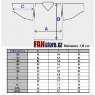 Hokejový dres - tabulka velikostí
