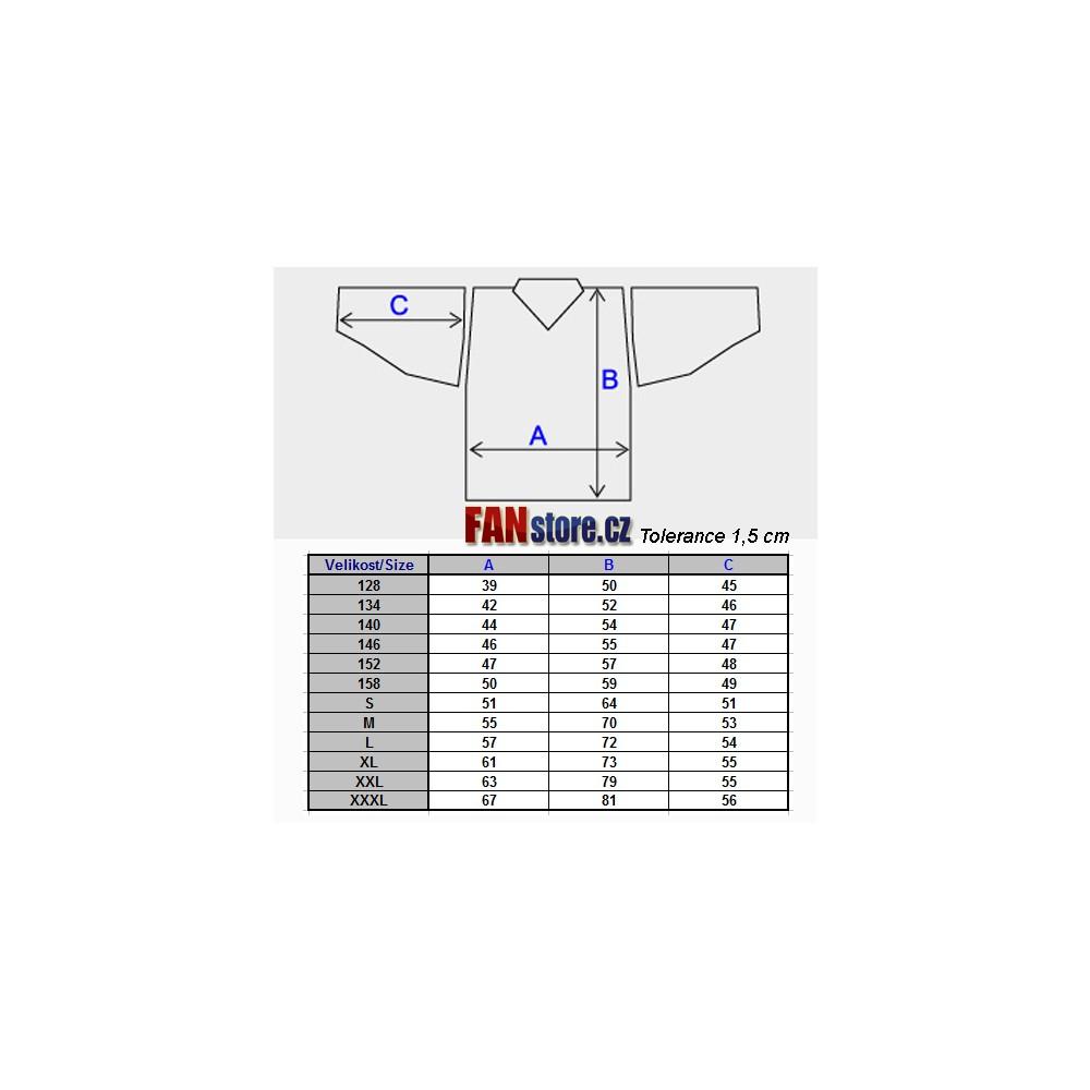 Hokejový dres - tabuľka veľkostí