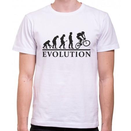 Tričko Evolúcia cyklisty biele