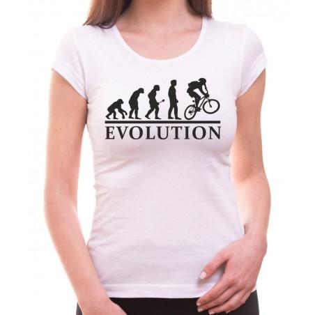 Tričko Evolúcia cyklistov dámske biele