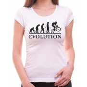 Tričko Evoluce cyklisty dámské bílé