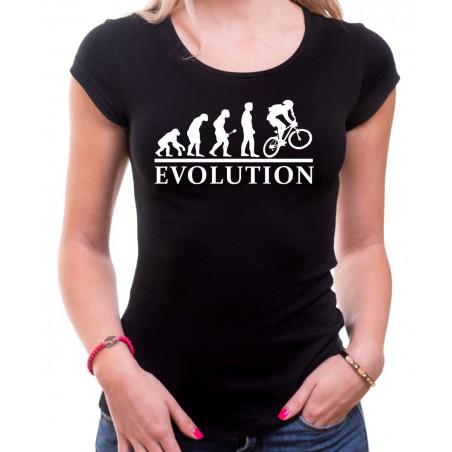 Tričko Evolúcia cyklistov dámske čierne