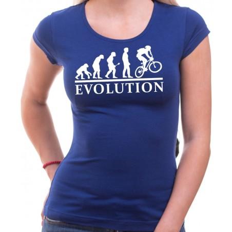 Tričko Evolúcia cyklistov dámske modré