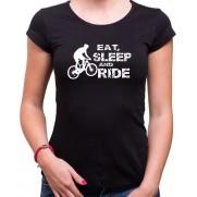 Tričko Eat, Sleep and Ride dámske čierne