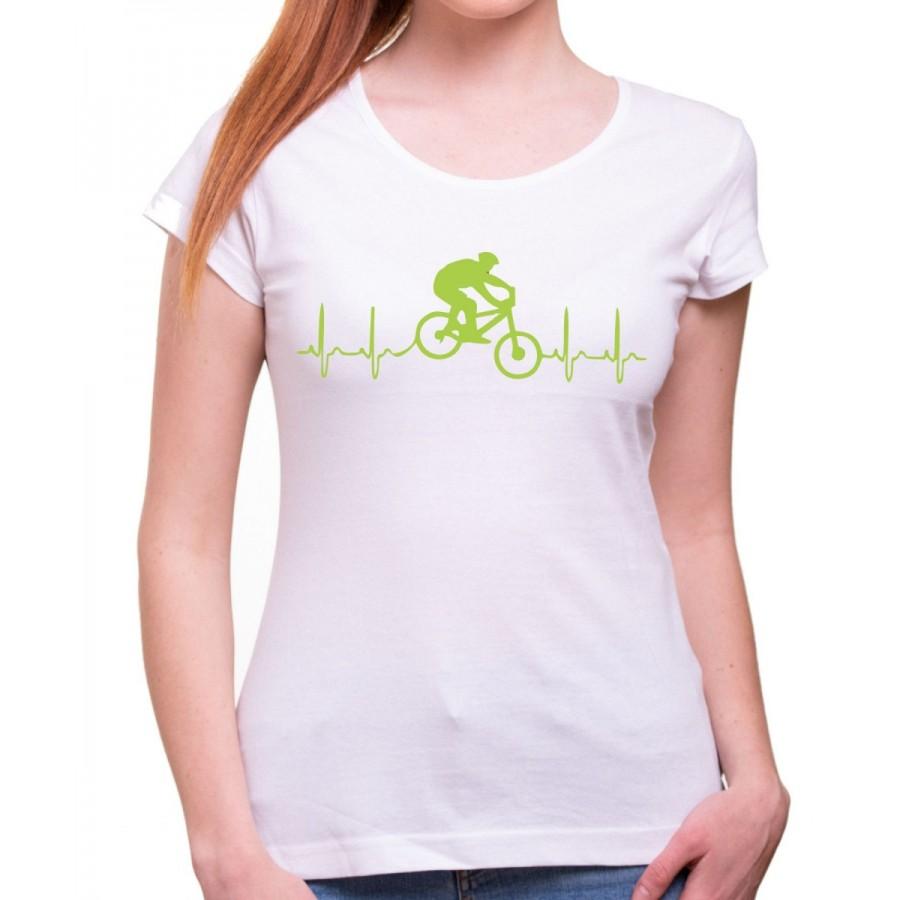 Tričko EKG kolo dámske biele
