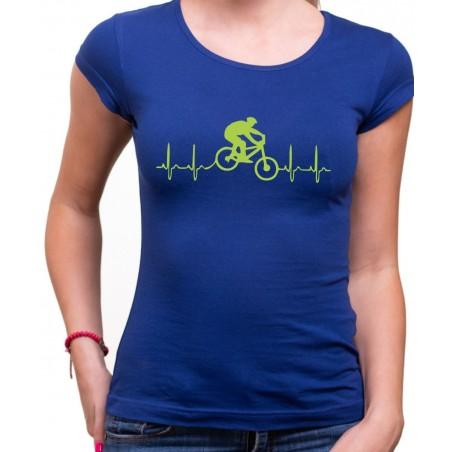 Tričko EKG kolo dámske modré