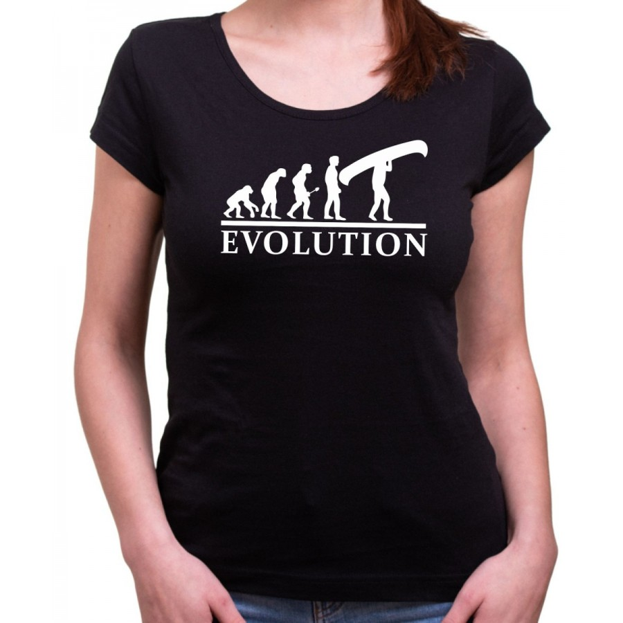 Vodácke tričko Evolúcia dámske čierne