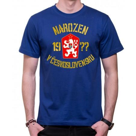 Tričko Narozen v Československu modré