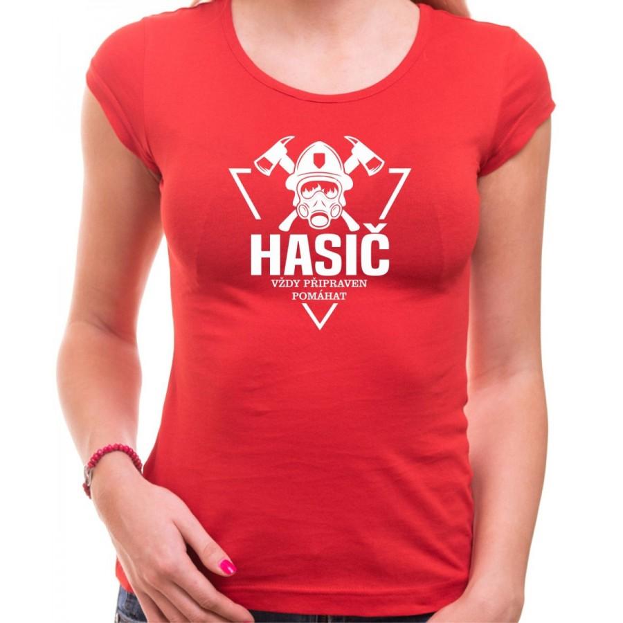 Tričko Hasič - Pripravený pomáhať, dámske červené