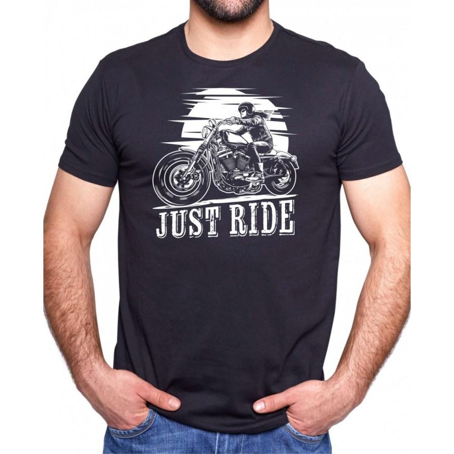 Motorkárske tričko Just Ride čierne