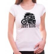 Motorkárske tričko Just Ride biele