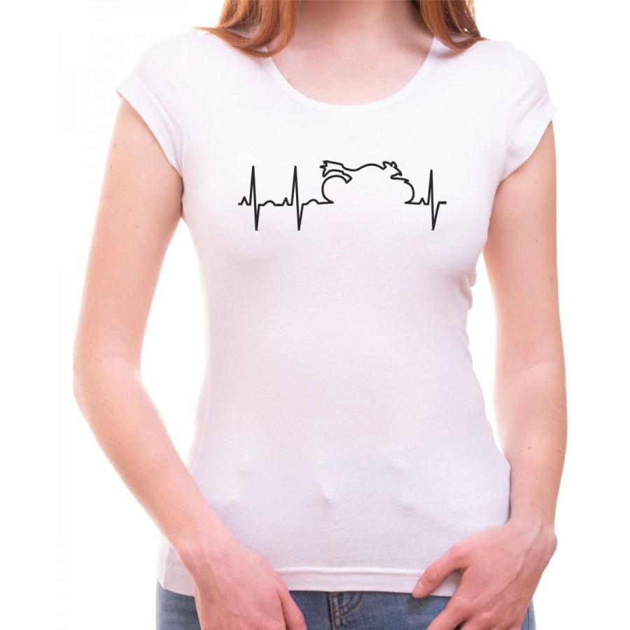 Tričko EKG motorka dámske biele
