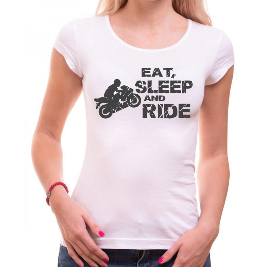 Motorkárske tričko Eat, Sleep and Ride dámske biele