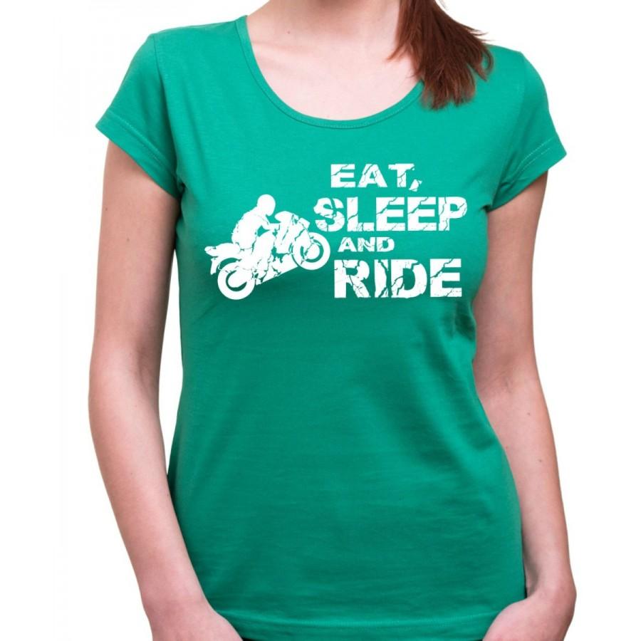 Motorkárske tričko Eat, Sleep and Ride dámske zelené