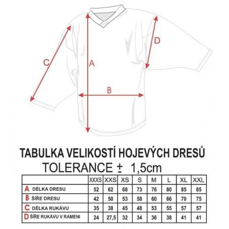 Tabuľka veľkostí - hokejové dresy