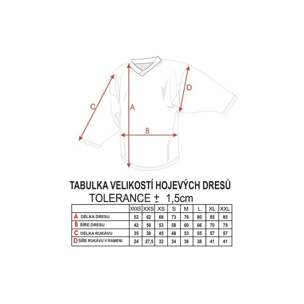 Hokejový dres Camp ČSSR - tabuľka veľkostí