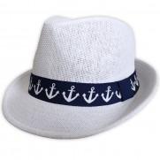 Plážový klobúk s námorníckou stuhou biely
