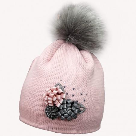 Zimní čepice s bambulí růžová