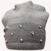 Zimní čepice Perfect šedá s perličkami