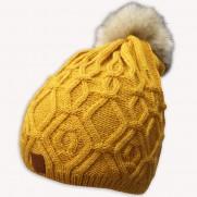 Zimní čepice VLN s bambulí žlutá