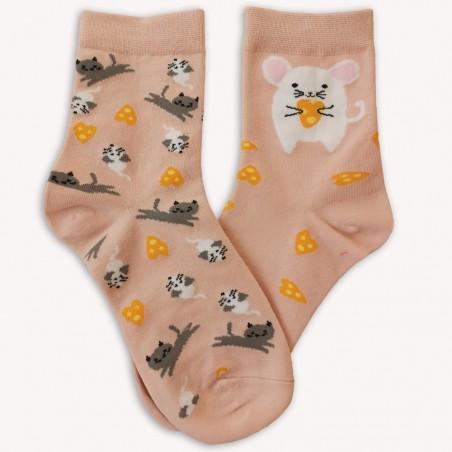 Ponožky S myškou růžové