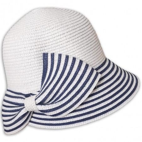 Dámský klobouček s proužky bílý